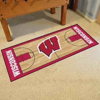 "30"" x 72"" University of Wisconsin NCAA Basketball Rectangle Runner Mat"