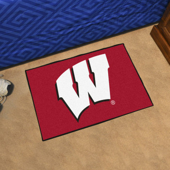 "19"" x 30"" University of Wisconsin Red Rectangle Starter Mat"