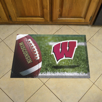 "19"" x 30"" University of Wisconsin Rectangle Scraper Mat - ""W"" Logo"