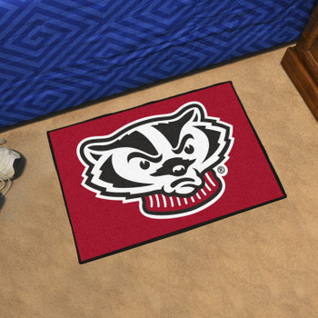 "19"" x 30"" University of Wisconsin Badgers Red Rectangle Starter Mat"