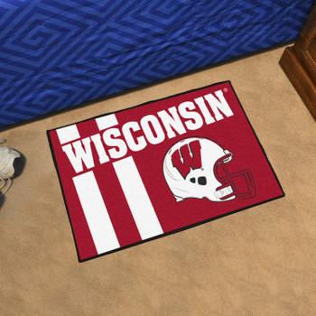 "19"" x 30"" University of Wisconsin Uniform Red Rectangle Starter Mat"