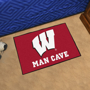 "19"" x 30"" University of Wisconsin Man Cave Starter Red Rectangle Mat"