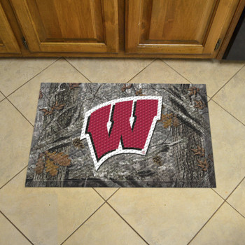 "19"" x 30"" University of Wisconsin Rectangle Camo Scraper Mat - ""W"" Logo"