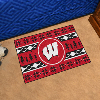 """19"""" x 30"""" University of Wisconsin Holiday Sweater Red Rectangle Starter Mat"""