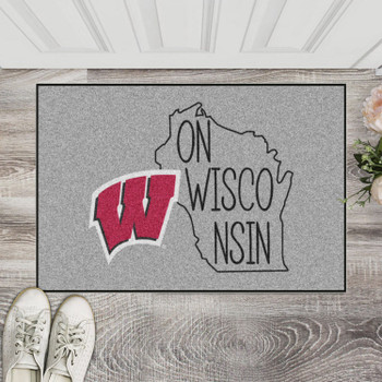 "19"" x 30"" University of Wisconsin Southern Style Gray Rectangle Starter Mat"