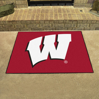 "33.75"" x 42.5"" University of Wisconsin All Star Red Rectangle Mat"