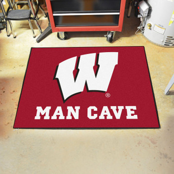 "33.75"" x 42.5"" University of Wisconsin Man Cave All-Star Red Rectangle Mat"