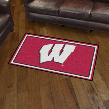 3' x 5' University of Wisconsin Red Rectangle Rug