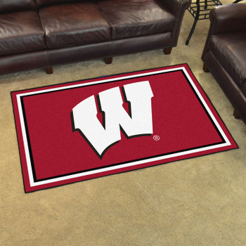 4' x 6' University of Wisconsin Red Rectangle Rug