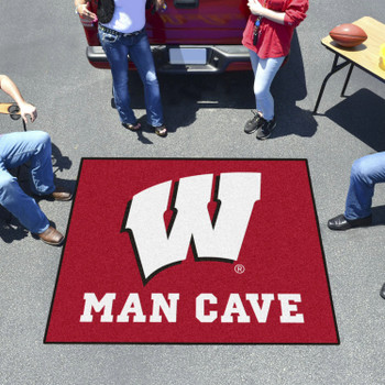 "59.5"" x 71"" University of Wisconsin Man Cave Tailgater Red Rectangle Mat"