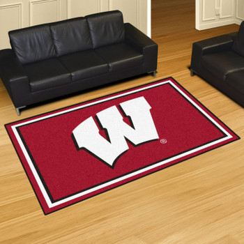 5' x 8' University of Wisconsin Red Rectangle Rug