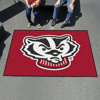 "59.5"" x 94.5"" University of Wisconsin Badgers Red Rectangle Ulti Mat"