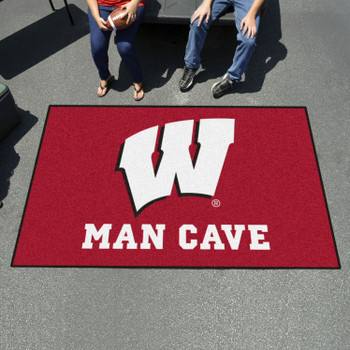"59.5"" x 94.5"" University of Wisconsin Man Cave Red Rectangle Ulti Mat"