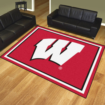 8' x 10' University of Wisconsin Red Rectangle Rug