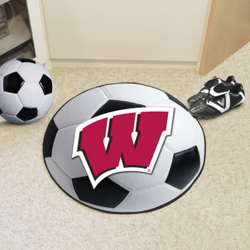 "27"" University of Wisconsin Soccer Ball Round Mat"