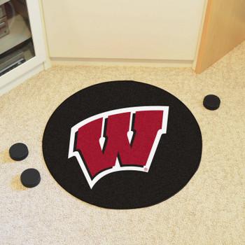 "27"" University of Wisconsin Puck Round Mat - ""W"" Logo"