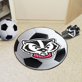 "27"" University of Wisconsin Badgers Soccer Ball Round Mat"