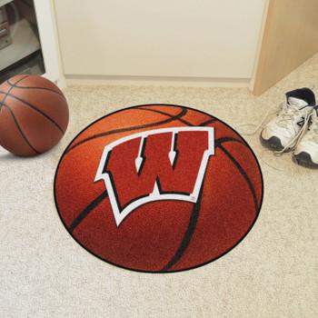 "27"" University of Wisconsin Orange Basketball Style Round Mat"