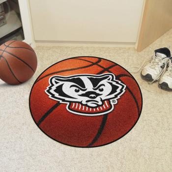 "27"" University of Wisconsin Badgers Orange Basketball Style Round Mat"
