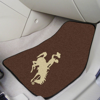 University of Wyoming Brown Carpet Car Mat, Set of 2