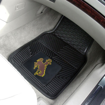 University of Wyoming Heavy Duty Vinyl Front Black Car Mat, Set of 2