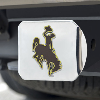 University of Wyoming Color Hitch Cover - Chrome