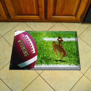 "19"" x 30"" University of Wyoming Rectangle Scraper Mat - ""Bucking Cowboy"" Logo"