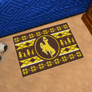 """19"""" x 30"""" University of Wyoming Holiday Sweater Brown Rectangle Starter Mat"""