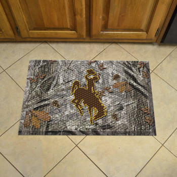 "19"" x 30"" University of Wyoming Rectangle Camo Scraper Mat - ""Bucking Cowboy"" Logo"