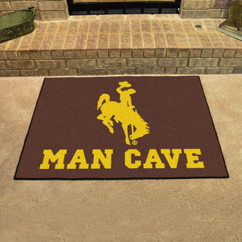 "33.75"" x 42.5"" University of Wyoming Man Cave All-Star Brown Rectangle Mat"