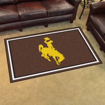 4' x 6' University of Wyoming Brown Rectangle Rug