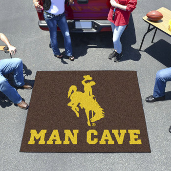 "59.5"" x 71"" University of Wyoming Man Cave Tailgater Brown Rectangle Mat"