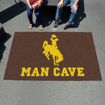 "59.5"" x 94.5"" University of Wyoming Man Cave Brown Rectangle Ulti Mat"