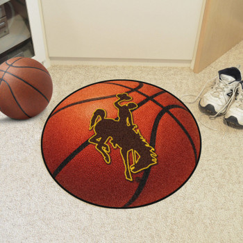 "27"" University of Wyoming Cowboys Orange Basketball Style Round Mat"