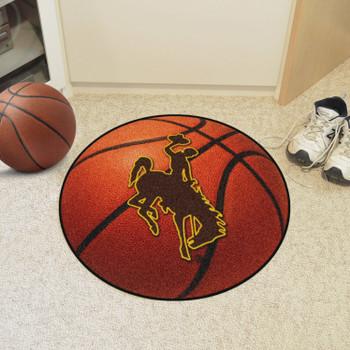 """27"""" University of Wyoming Cowboys Orange Basketball Style Round Mat"""