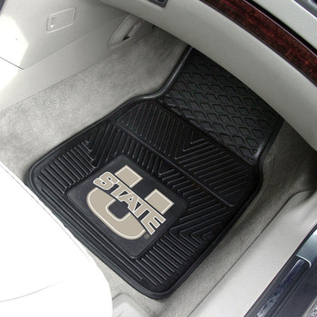 Utah State University Heavy Duty Vinyl Front Black Car Mat, Set of 2