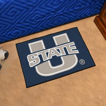 """19"""" x 30"""" Utah State University Navy Blue Rectangle Starter Mat"""