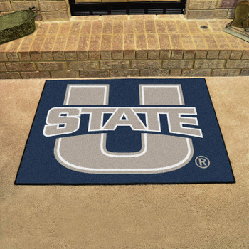 "33.75"" x 42.5"" Utah State University All Star Navy Blue Rectangle Mat"