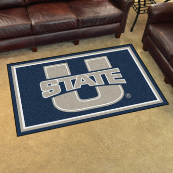 4' x 6' Utah State University Navy Blue Rectangle Rug
