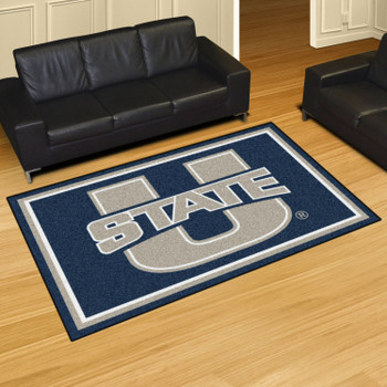 5' x 8' Utah State University Navy Blue Rectangle Rug