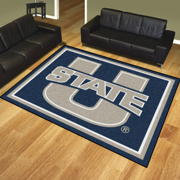 8' x 10' Utah State University Navy Blue Rectangle Rug