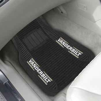 Vanderbilt University Deluxe Vinyl & Black Carpet Car Mat, Set of 2