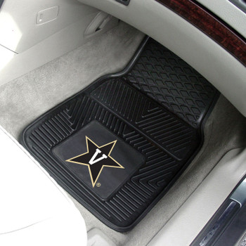 Vanderbilt University Heavy Duty Vinyl Front Black Car Mat, Set of 2