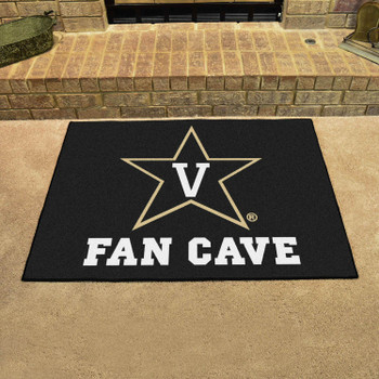 Vanderbilt University Fan Cave All-Star Black Rectangle Mat