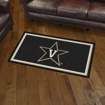 3' x 5' Vanderbilt University Black Rectangle Rug