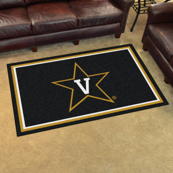 4' x 6' Vanderbilt University Black Rectangle Rug