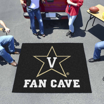 "59.5"" x 71"" Vanderbilt University Fan Cave Black Tailgater Mat"