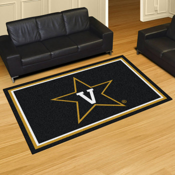 5' x 8' Vanderbilt University Black Rectangle Rug