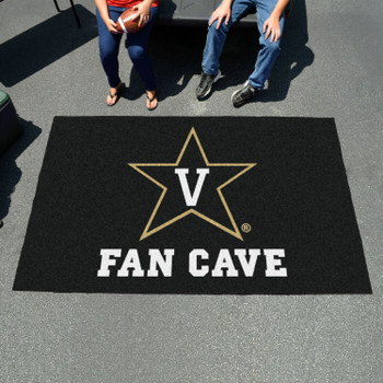 "59.5"" x 94.5"" Vanderbilt University Fan Cave Black Ulti Mat"