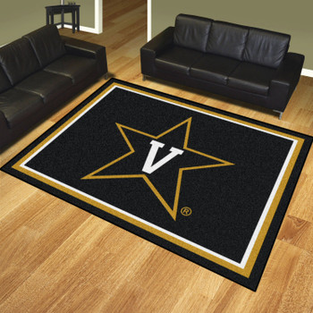 8' x 10' Vanderbilt University Black Rectangle Rug